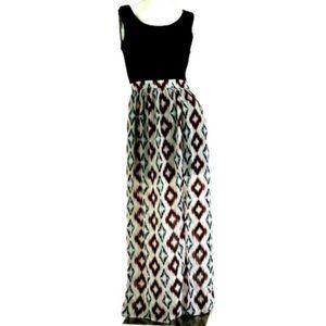 HeartSoul Lace Top Semi-Sheer Festival Maxi Dress